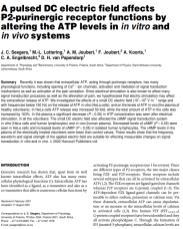 A pulsed DC electric field affects P2-purinergic receptor functions by altering the ATP levels in in vitro and in vivo systems
