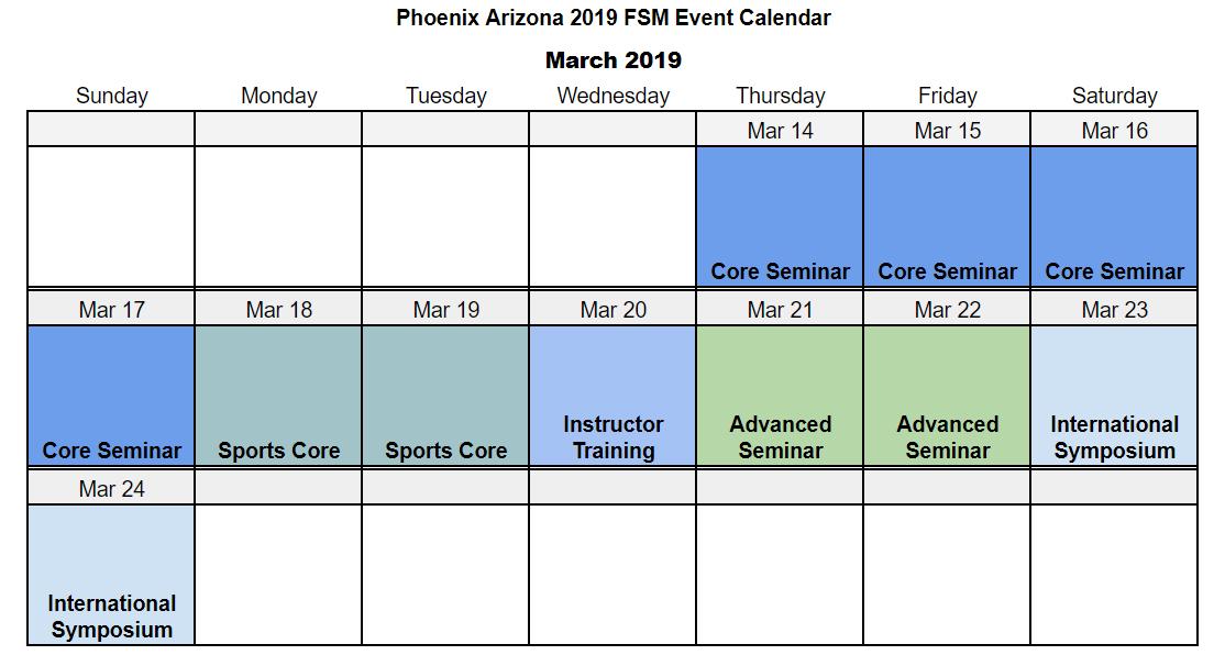 2019 Phoenix FSM Event Calendar