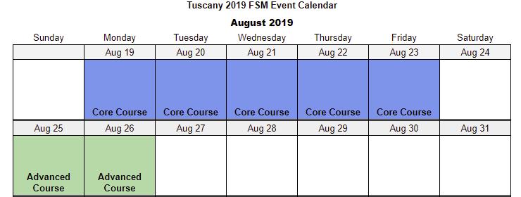 Tuscany Calendar Google Sheets