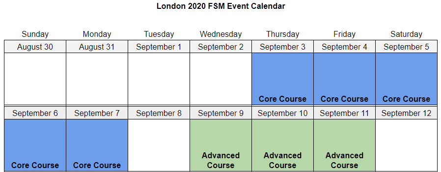 London 2020 FSM Event Calendar