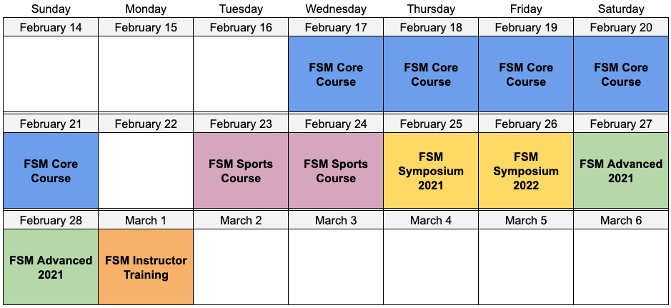 FSM Advanced 2021 Event Calendar
